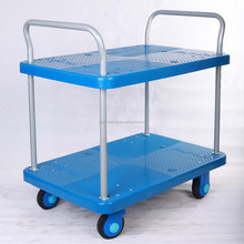 300 kg 2 tier trolley hand push food cart for sale plastic push cart