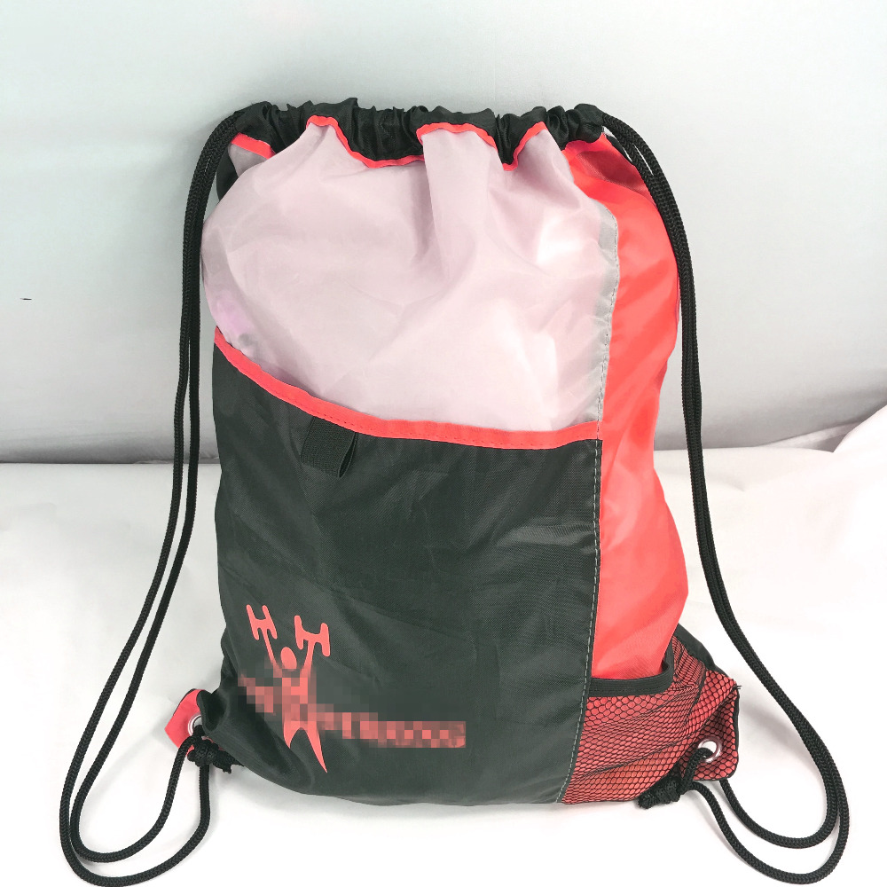 Wholesale Custom Made Big Waterproof Polyester Backpack Style Football Drawstring Bag With Front Ball Compartments