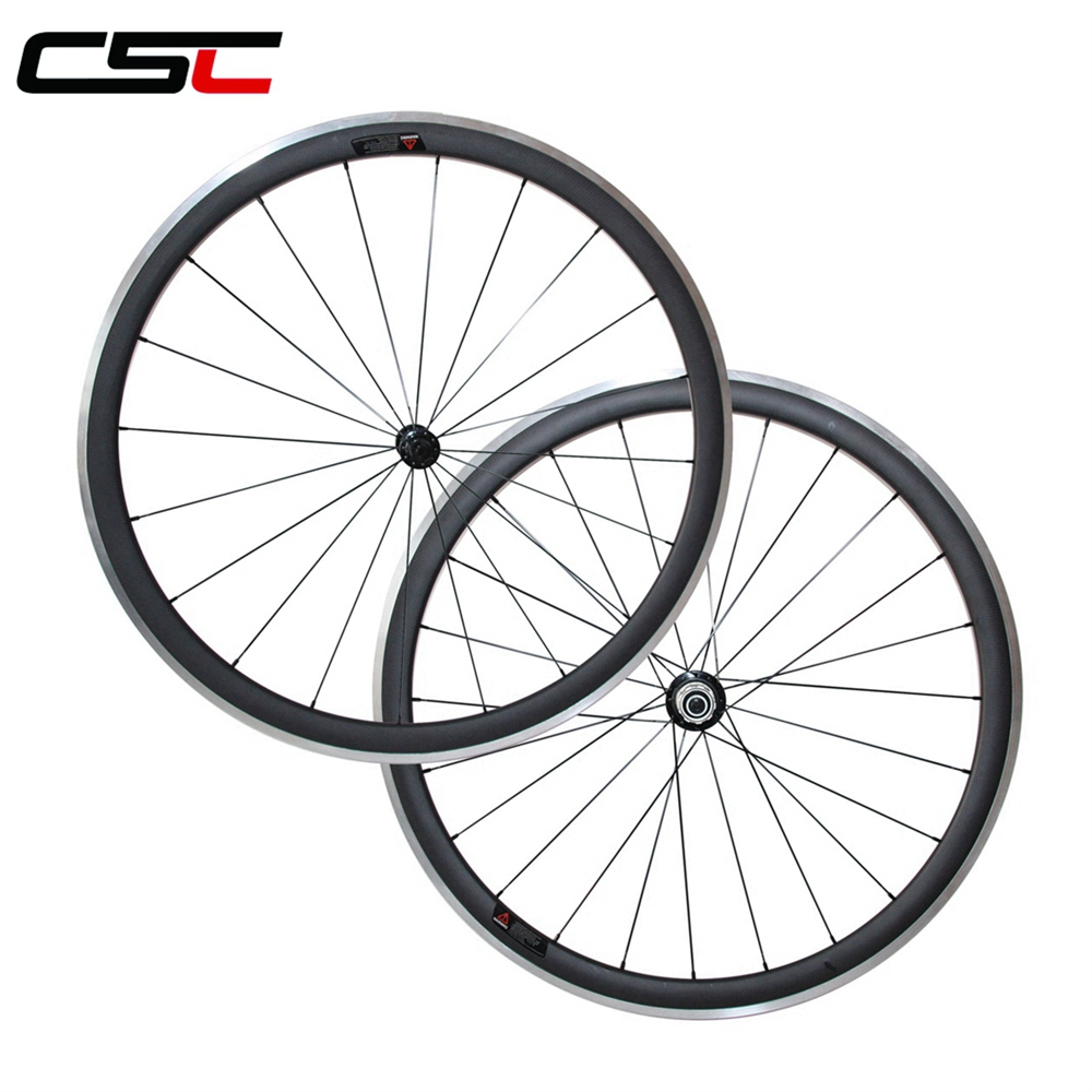 700C 38mm Clincher 23mm width Aluminum Braking Surface Carbon Road Bicycle Wheels