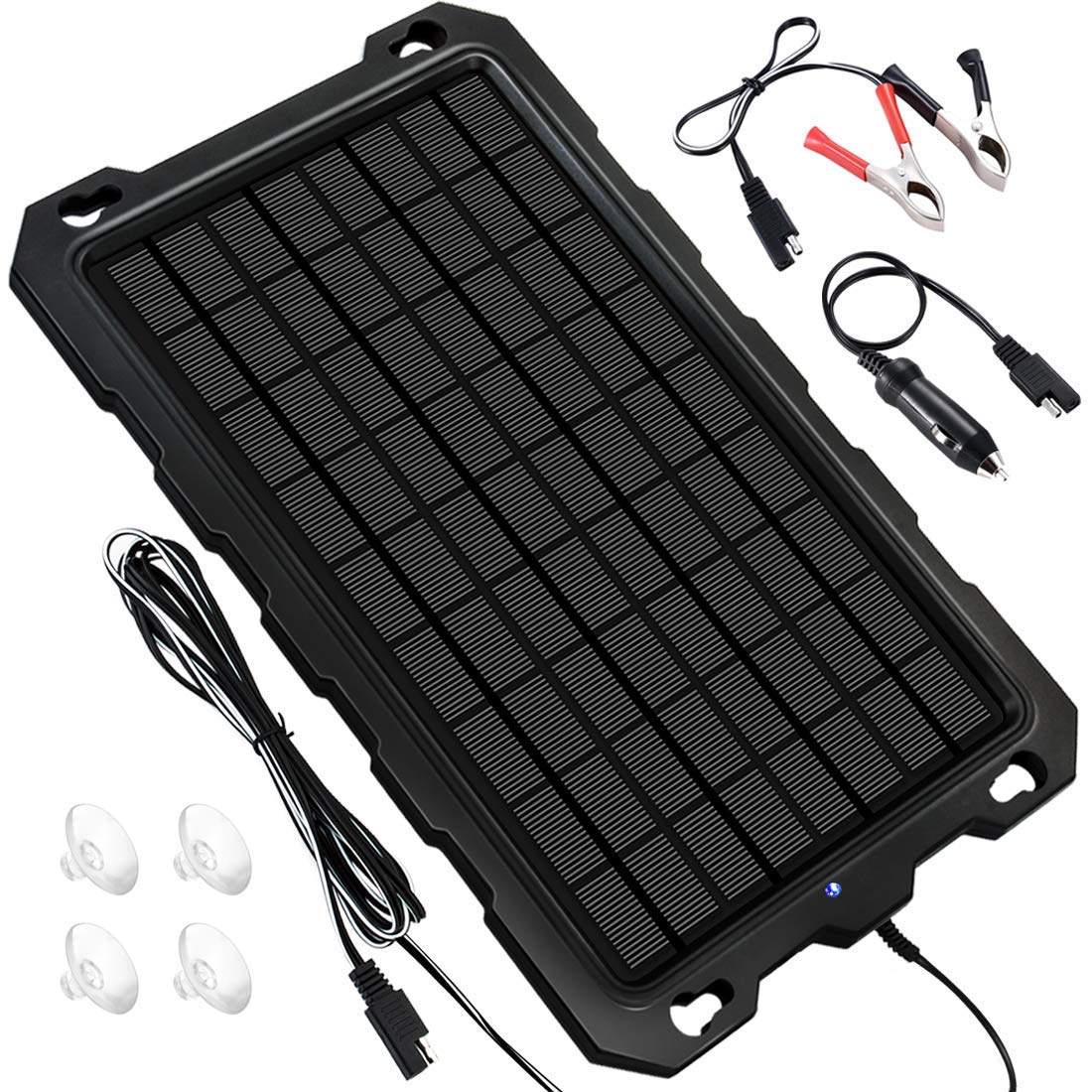 Solar Battery Charger Car, 7.5W 12V Solar Trickle Charger for Car Battery, Portable and Waterproof Solar Battery Maintainer, High conversion single crystal silicon Solar Panel car battery charger