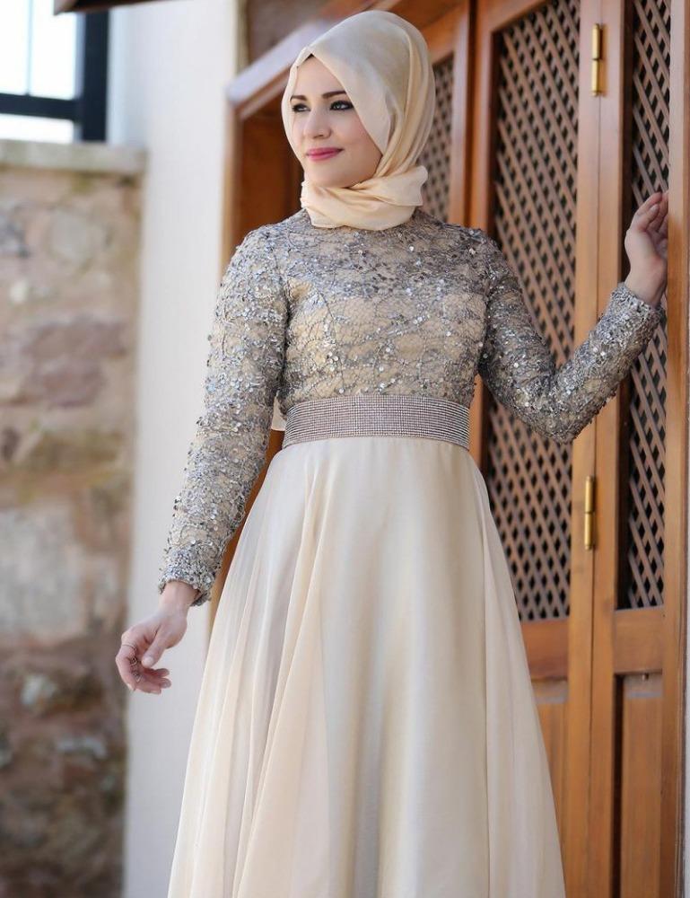 Manches longues Abaya Arabe Hijab Robes De Soirée Crsytal Baguettes Musulman  Robes De Soirée pour les