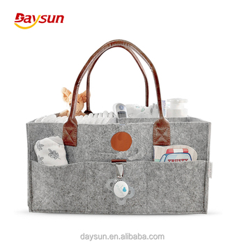 Multipurpose Use Baby Diaper Bag Caddy Organizer Keeps Everything Organized Leather Handle