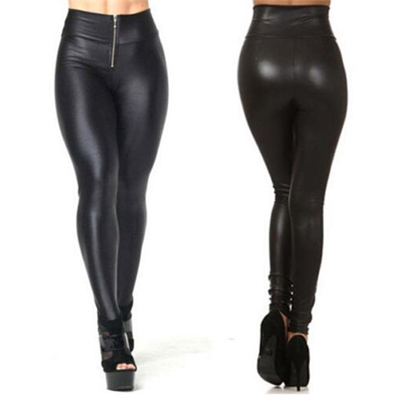 771c556daf107 Get Quotations · 2015 High Waist Sexy Soild Black Faux PU Leather Leggings  Sexy Shiny Metallic High Waist Black