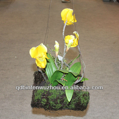 Artificial Latex Slipper Orchids Flowers,Artificial Hanging Slipper Orchids