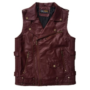 Custom Made Fashionable Mens Leather PU Vest Motorcycle Vest