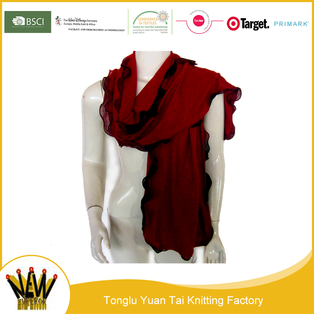 Popular winter women acrylic reverse knitted scarf