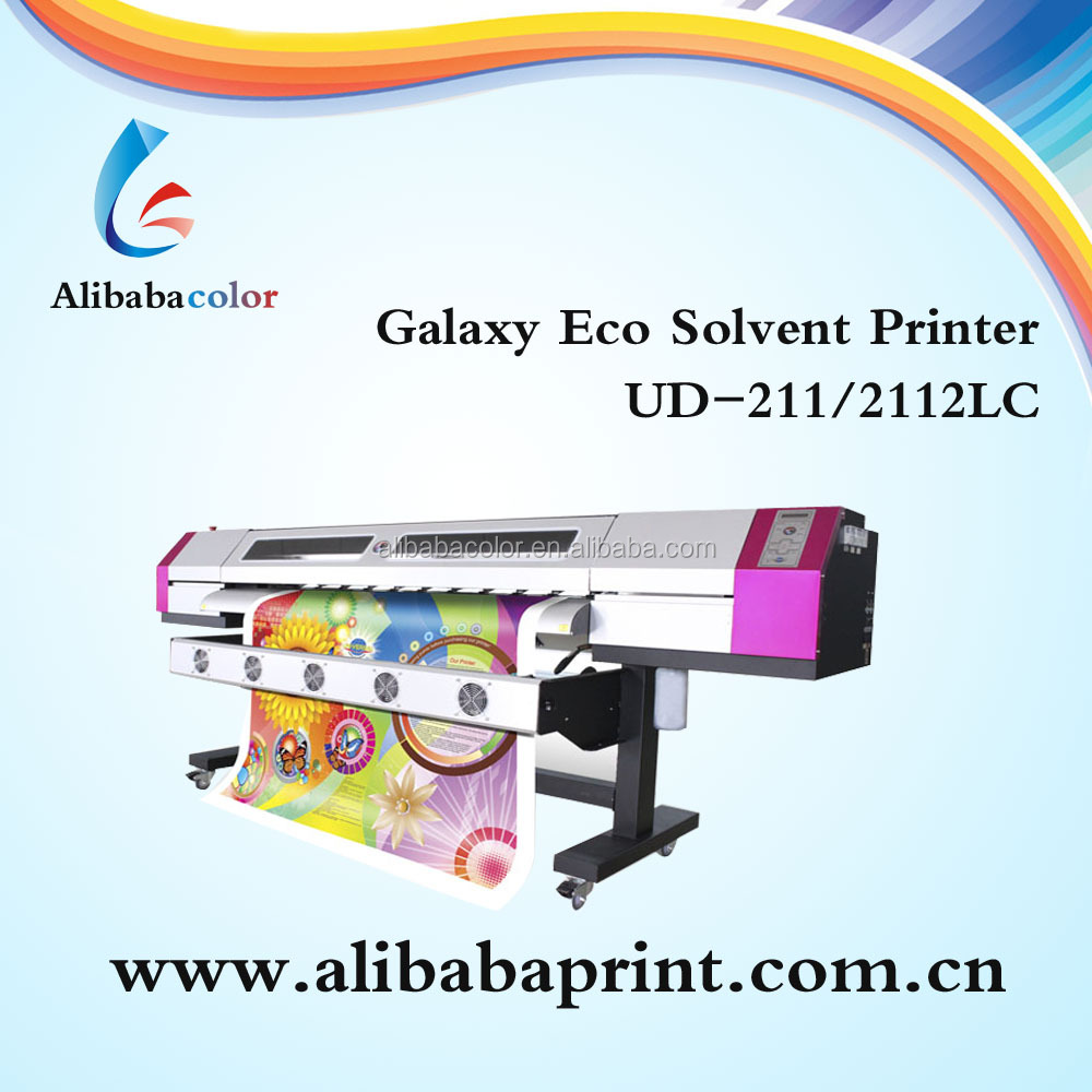 Universal digital Galaxy printer UD-2112LA ,DX5 Print head Eco solvent printer with flatbed table(1440dpi)