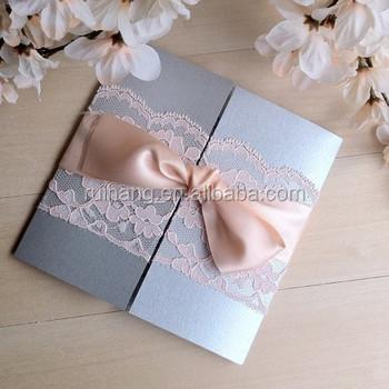 Blozen Kant Bruiloft Uitnodiging Zilveren Gatefold Uitnodiging Buy Blozen Lint En Kant Zilver Glitter Kristal Versierdeinvitat Kant Pocketfold