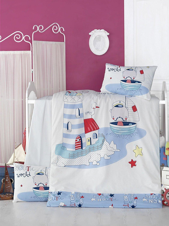 LaModaHome 5 Pcs Baby Sea Boat Blue Mustache Lighthouse Bird Captain Toddler Cotton Bedding COTTON COMFORTER Set, Turkey 100% Cotton Nursery [with COTTON Quilt/Comforter]