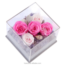 Customized Clear Acrylic Luxury Rose Flower Display Gift Box With Lid