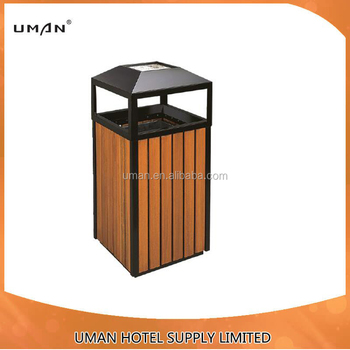 Wooden Recycling Park Garbage Can Trash Bin Waste Bins Decorative Outdoor