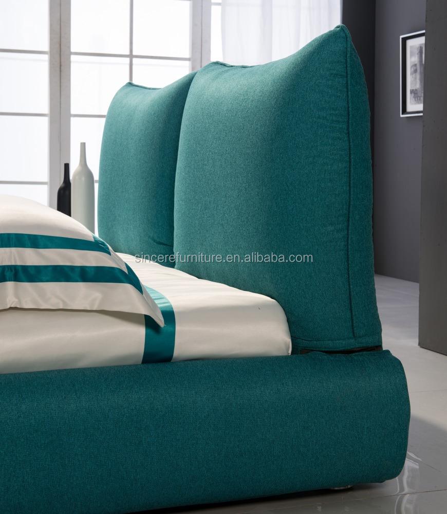 Thuis slaapkamer meubels unieke blauw stof bed, ronde hoek bed ...