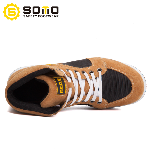 c24bc25a6ea SOMO 2018 New Fashionable Anti-Shock Suede Leather Work Men Safety Shoes