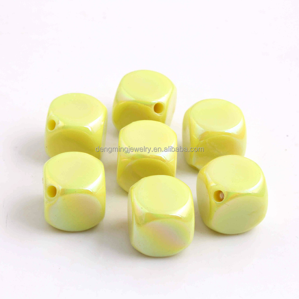 Mint Yellow Large Pastel Chunky Acrylic Gumball AB Square Beads for Kids Necklace Making 15MM
