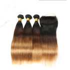 Manka Indian Hair Bundles #1b/4/27 4*4 Remy Straight Ombre Human Hair with Lace Closure Salon One Pack