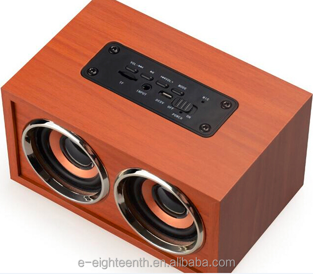2017 new hot best-selling Dual surround High Fidelity wireless wood speaker super mega bass Bluetooth speaker