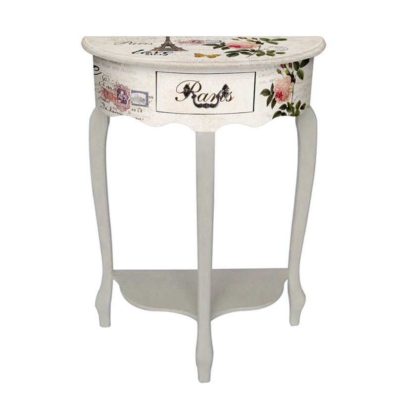 Vintage Decorative Tall Narrow Bedside Table With White