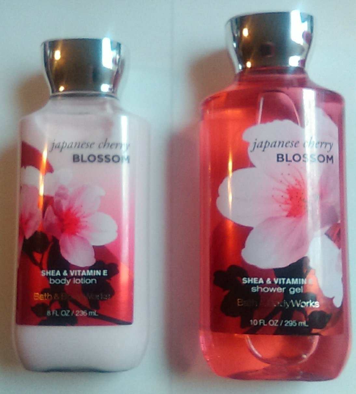 Bath & Body Works Japanese Cherry Blossom Body Lotion 8 oz & Shower Gel 10 oz