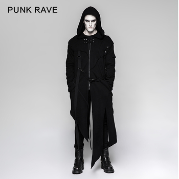 Y 745 Punk Black Mens Hooded Long Sweater Coats With Stripes Buy