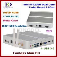 4GB RAM+64G SSD fanless i5 4200u mini linux embedded pc,Intel HD 4400 Graphics,2*COM RS232,4*USB 3.0, HDMI,4K HD HTPC,win 7/8