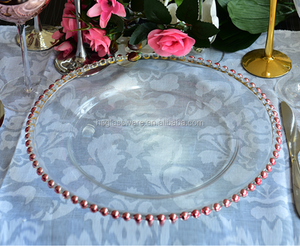 Champagne Glass Charger Beaded Rimmed Dinner Underplate Wedding Rose Gold Plate