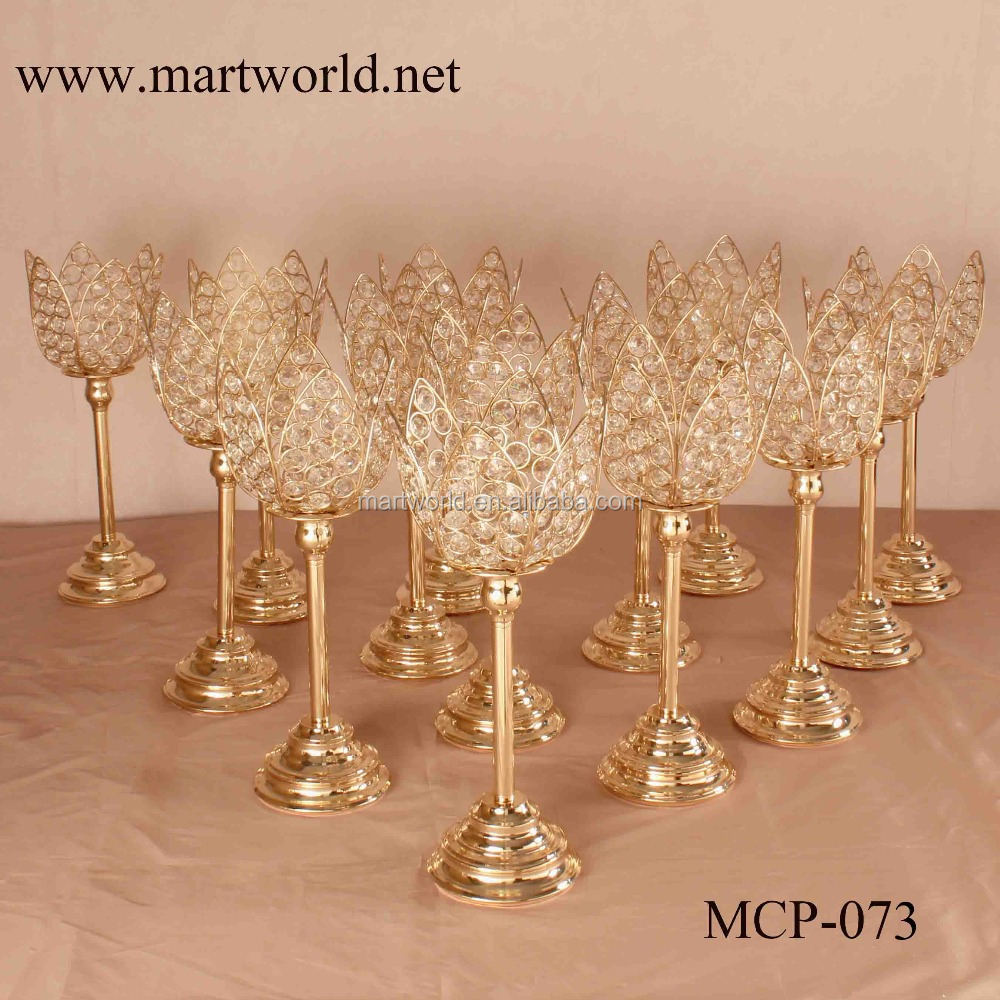 Super hot champagne gold lotus shape crystal candelabra centerpieces candelabra wedding table centerpiece decoration (MCP-073)