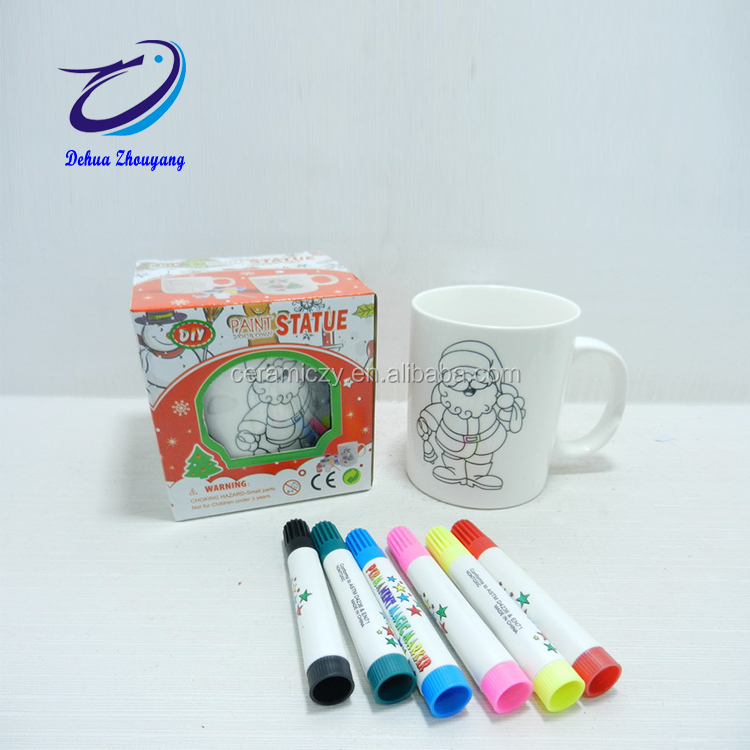 White bisque mug ceramic DIY paint set painting education