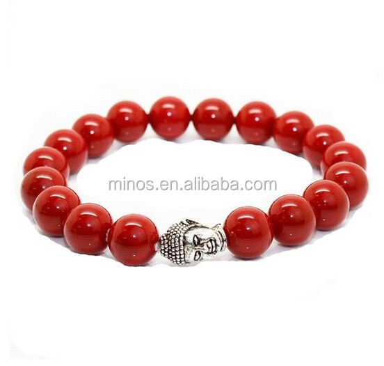 Pearl Bead Bracelet, Unisex 10mm Red Shell Pearl Beads With Silver Buddha Head Energy Bracelet