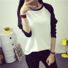 2016 Coreano new Harajuku outono algodão solto t shirt mulheres tops tamanho grande cor feitiço manga