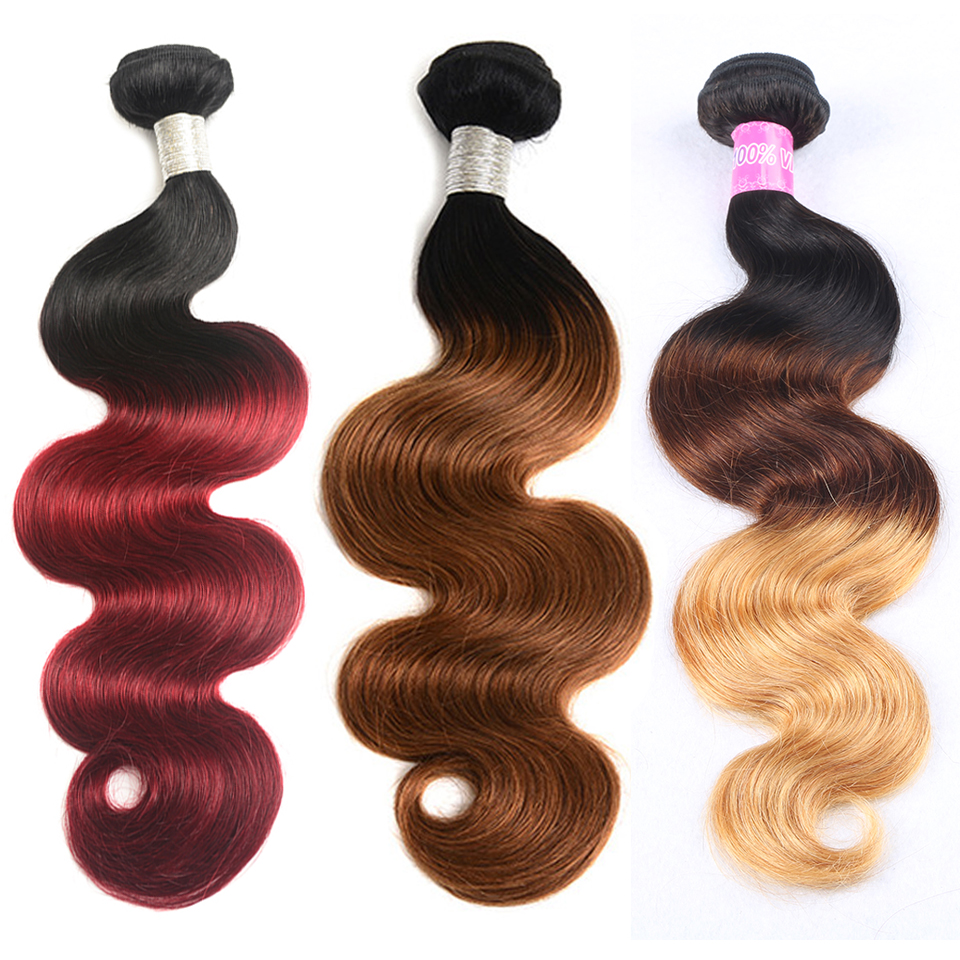 Ombre Bundles Free Choose Body Wave Extension Human Brazilian Hair Bundles Cuticle Aligned Hair Brazilian Hair, 1b 99j;1b/30;1b/4/27 body wave
