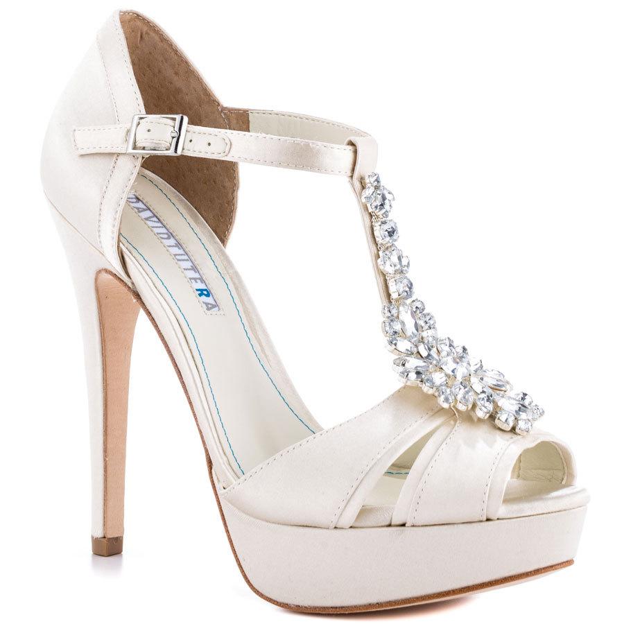 7a0ee0e6a20 Get Quotations · Elegant Rhinestone T-strap Wedding Shoes Women Sandal  Thick Platform Crystal Black White Satin
