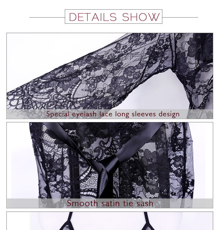 Women Sexy Lingerie bridal Robe Sheer lace girls sexy night dress photos dry robes with bralette G-string