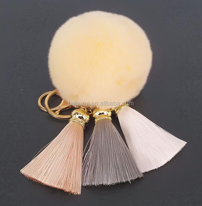 ourui fashion silk tassel keychain with fur pompom,colorful tassel keychain for handbag with golden and silver cap