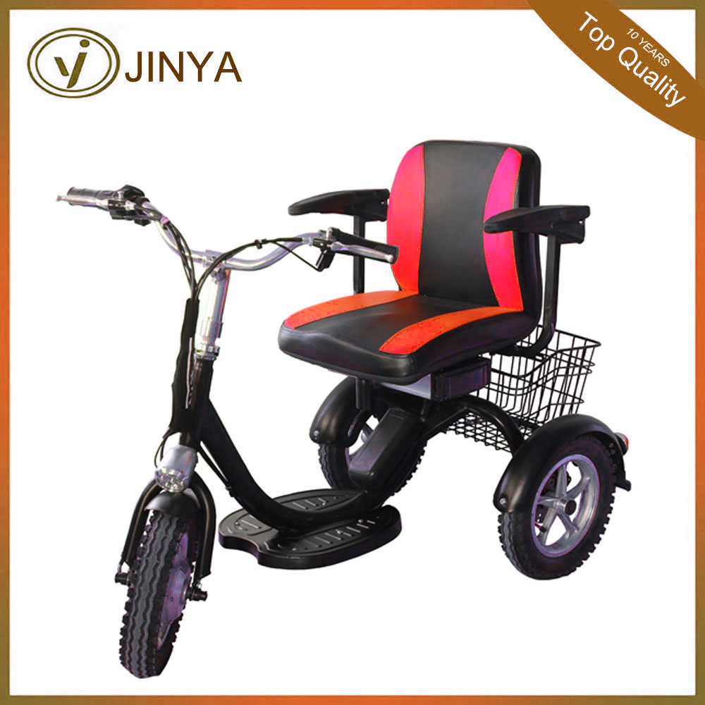 2017 tianjin jinya 48v 350w 12 inch brushless motor electric tricycle for handicapped