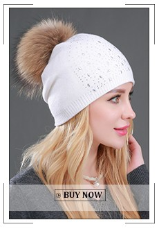 2017 New Winter Beanies Ladies Knitted Wool Warm Hats Fashion Pom Pom Real Raccoon Fur Caps Skullies Hat For Women Print Fur Cap