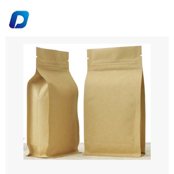 2018 New Side Gusset Kraft Paper Flat Square Bottom Coffee Packaging Bag With Zipper