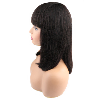 Blunt Bob Cut Hair 14 Inches Machine Weft Wig Human Bob Hair Wig With Bangs