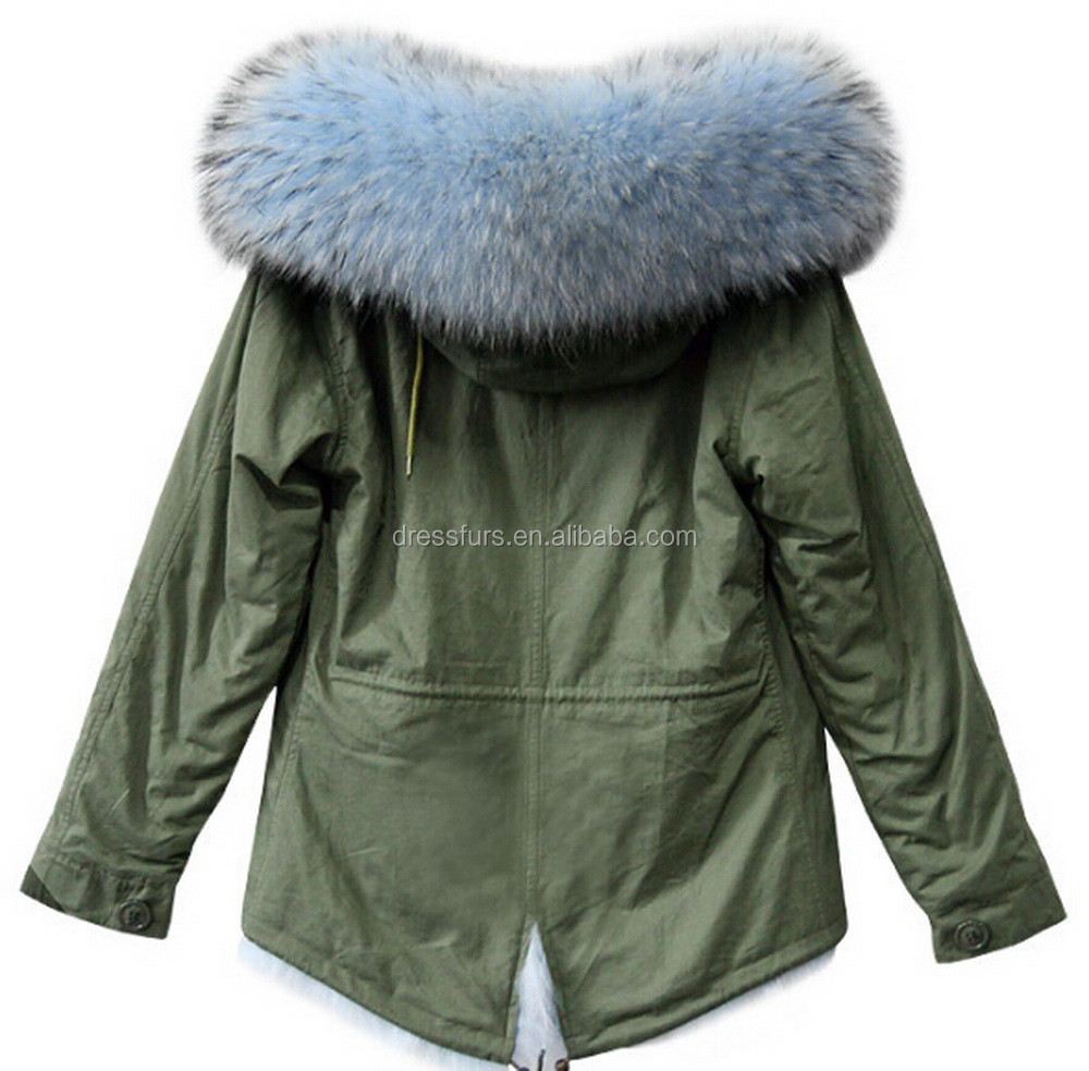 Best Selling Items Fur Coat Woman Khaki Hooded Fishtail Parka Coat In China
