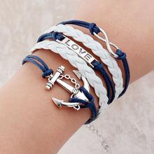 Vintage Braided Anchors Rudder bracelete Love owl best friends Leather Bracelet men jewelry heart Rope charm Bracelets for women