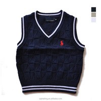 2017 Cheap baby boys girls knit low collar children sleeveless sweater school pullover uniform vest clothes
