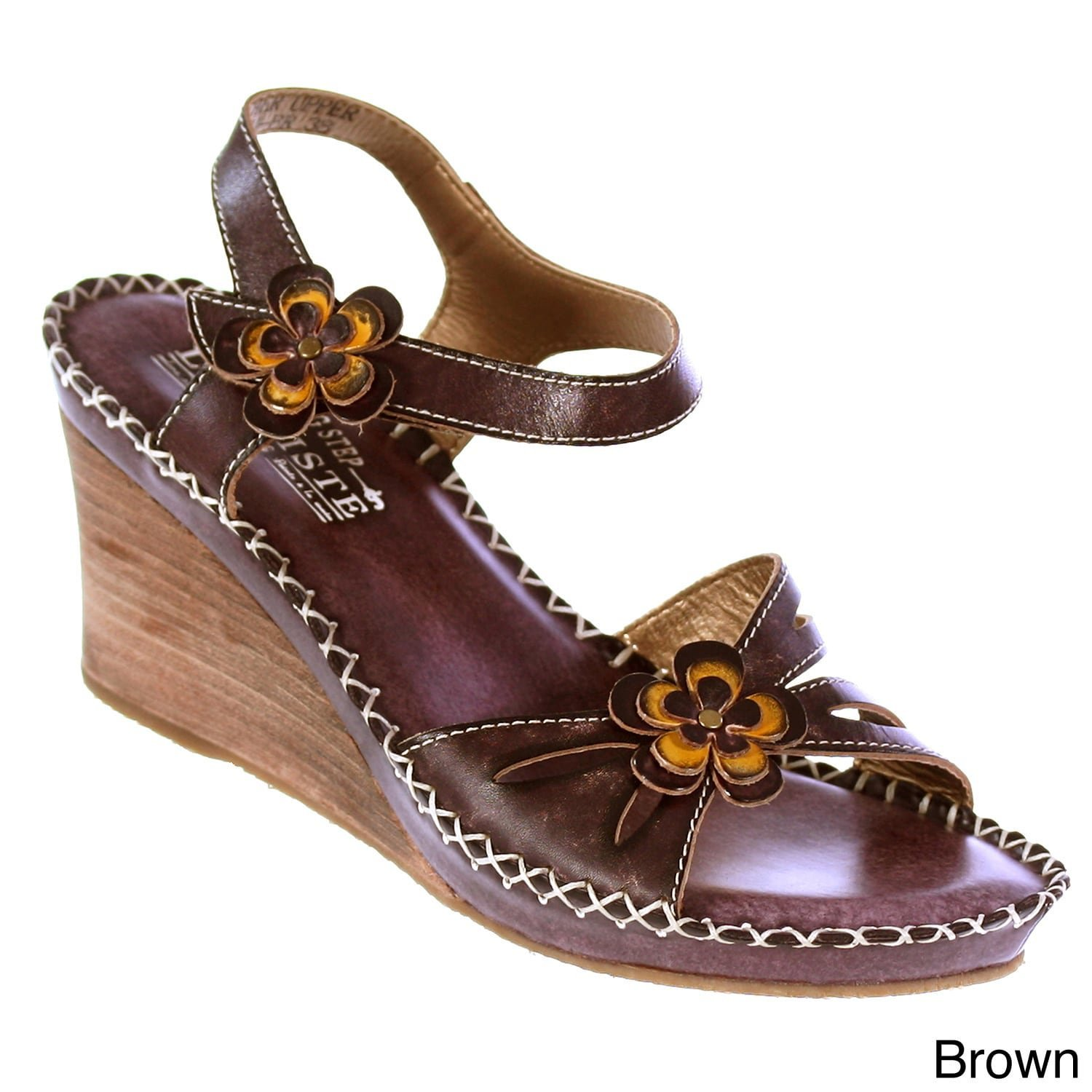 3fac9488cad Get Quotations · L ARTISTE Spring Step Women s Leather Floral-Trim Wedge  Sandals Brown 8