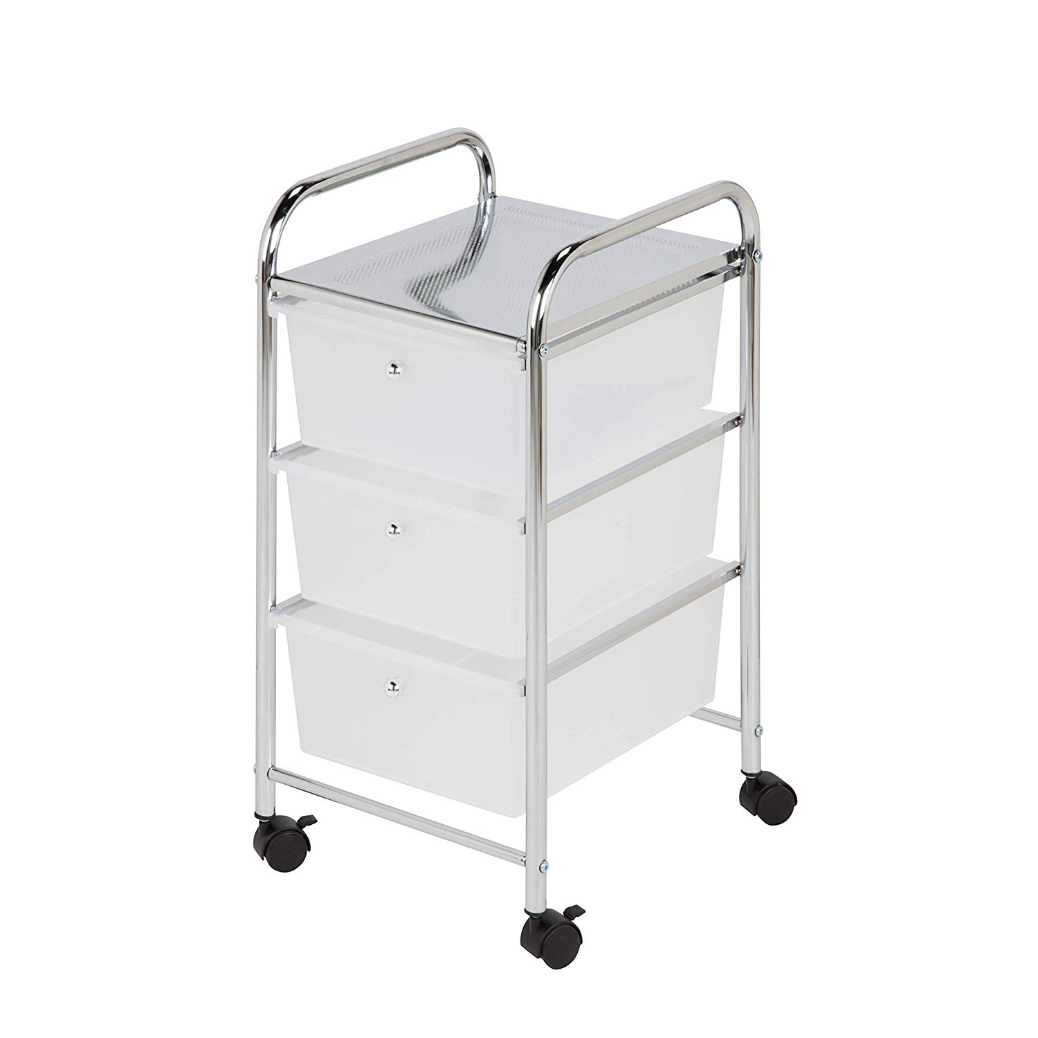 Honey Can Do Compact Steel 3-Drawer Plastic Rolling Storage Utility Cart, Chrome/Clear