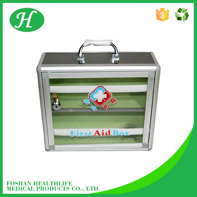 Medical supplies aluminum frame first aid box with handle