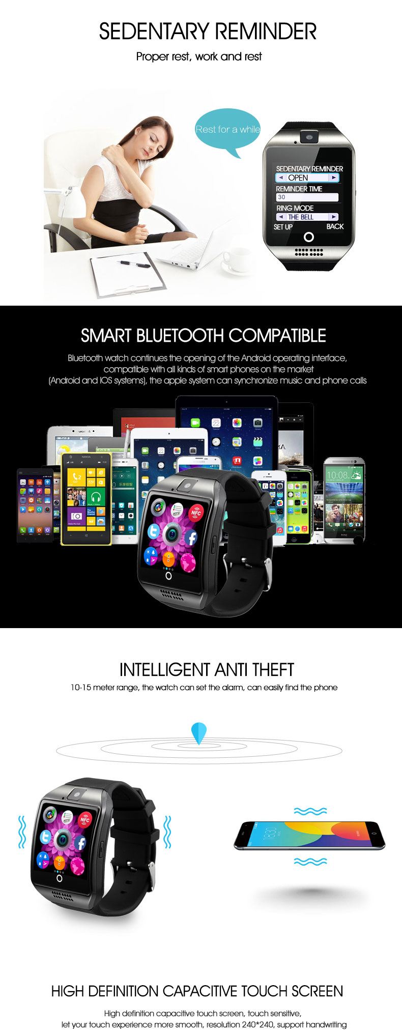 New products Q18 touch screen smart watch, android smartwatch phone with watch phone android carma watch mobile q 18