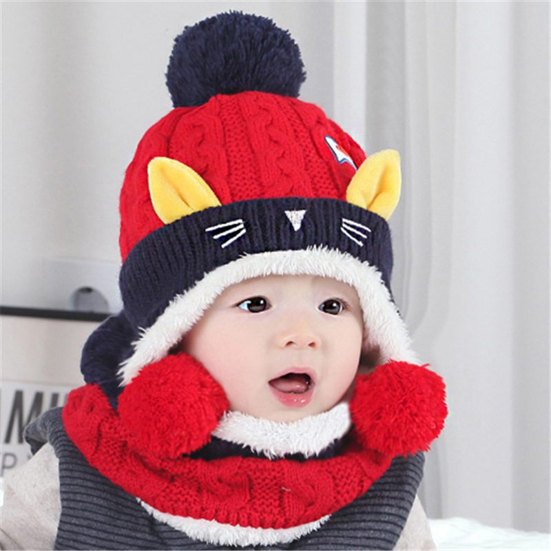 Toddler Baby Kids Boy Girl Winter Warm Knitted Cute Ear Beanie Hat Scarf Cap Set