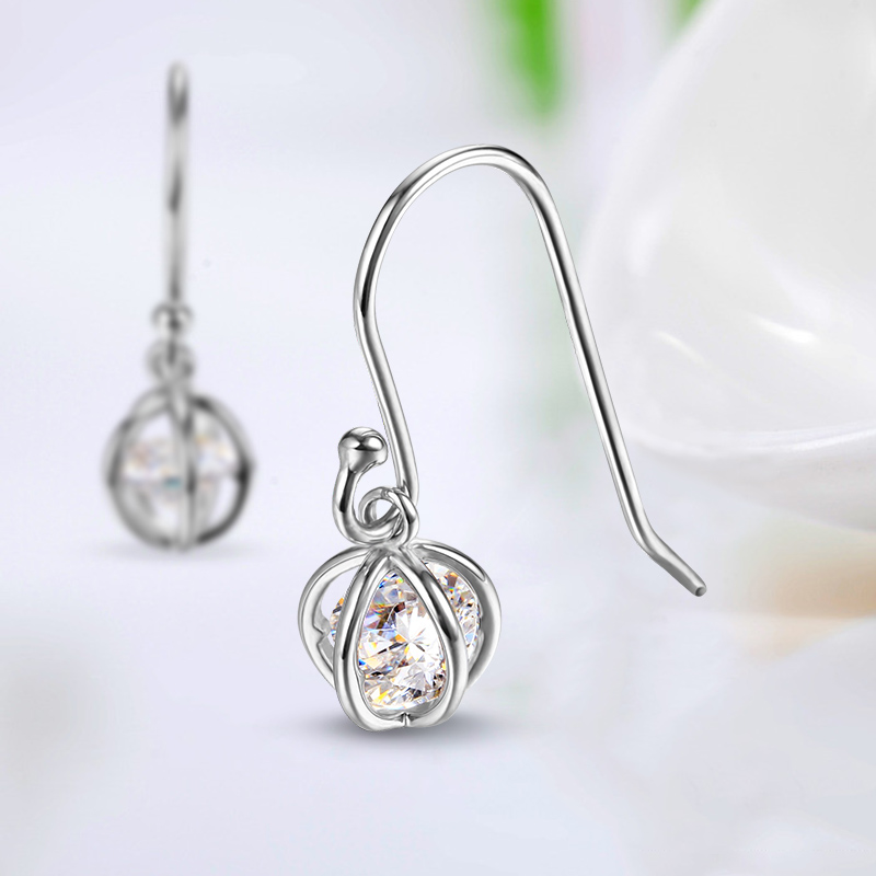 Single White Cz Stone Bird Cage Hoop Earrings Designs Jewelry With Wire Drop Product On Alibaba