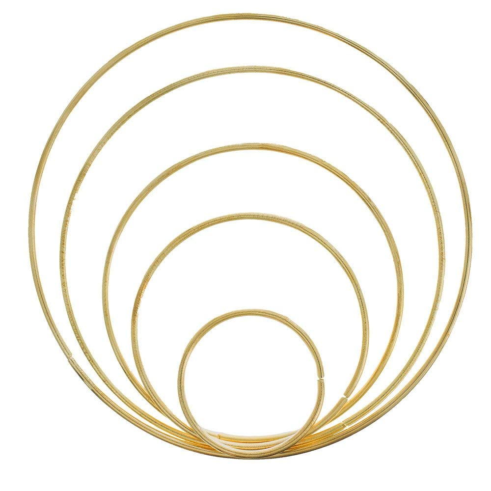 West Coast Paracord Metal Craft Hoops Dream Catcher Rings Metal Macrame Steel Hoops for Dreamcatchers, Macrame Projects, Wreaths, 10 Pieces in 5 Different Sizes (Gold & Silver)