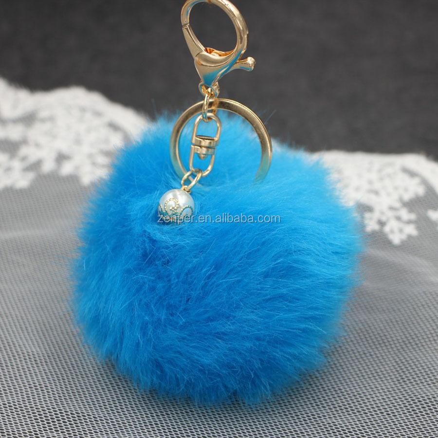 8 cm bola pingente de pérola de imitação de pele de coelho Pom Pom keychain