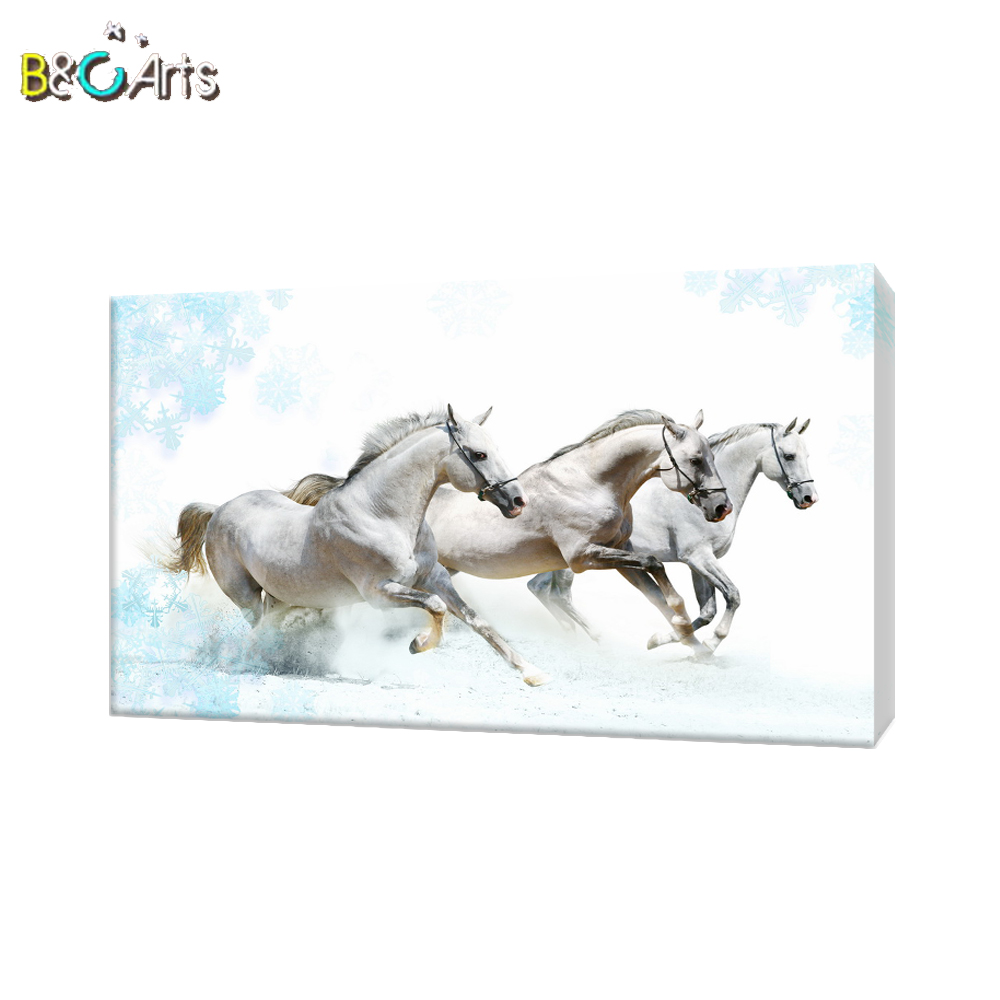 Chinese white animal canvas art famous horse paintings for home decoration