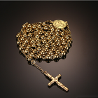Gift Beads Rosary Fashion Gold Color Stainless Steel Beads Cross Rosary Necklaces